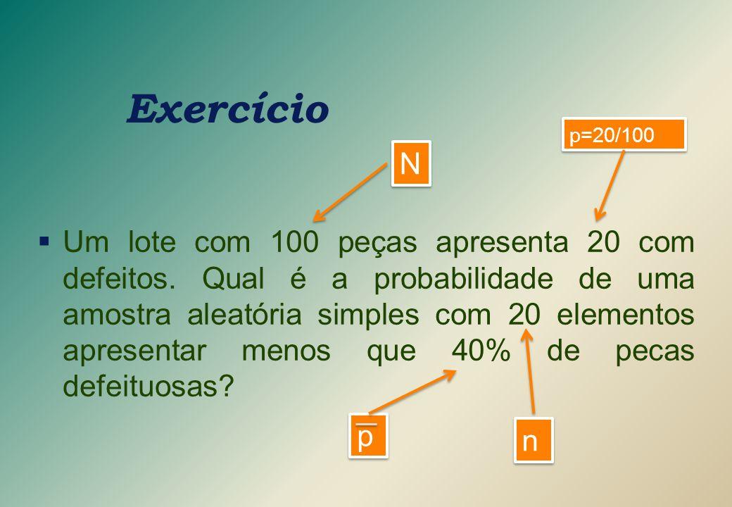Exercício p=20/100. N.
