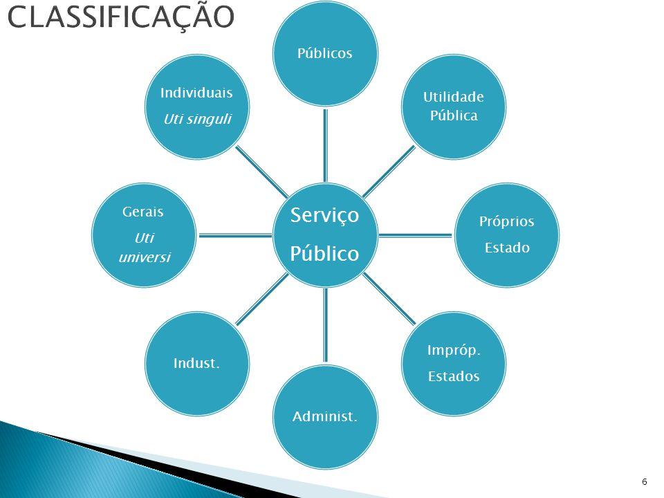 classificação Público Serviço Públicos Utilidade Pública Estado