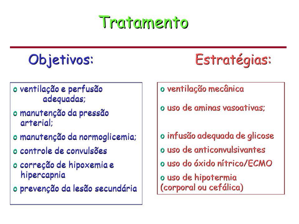Tratamento Objetivos: Estratégias: ventilação e perfusão adequadas;