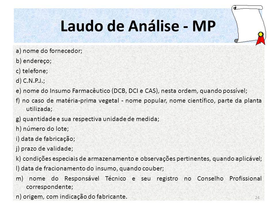 Laudo de Análise - MP