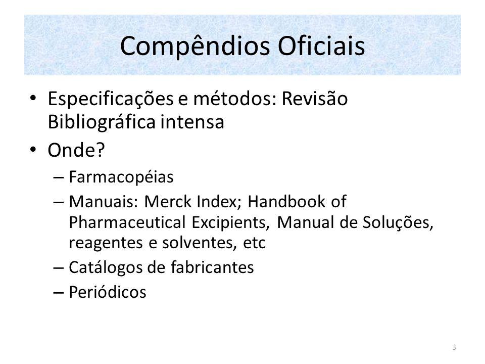 Compêndios Oficiais Especificações e métodos: Revisão Bibliográfica intensa. Onde Farmacopéias.