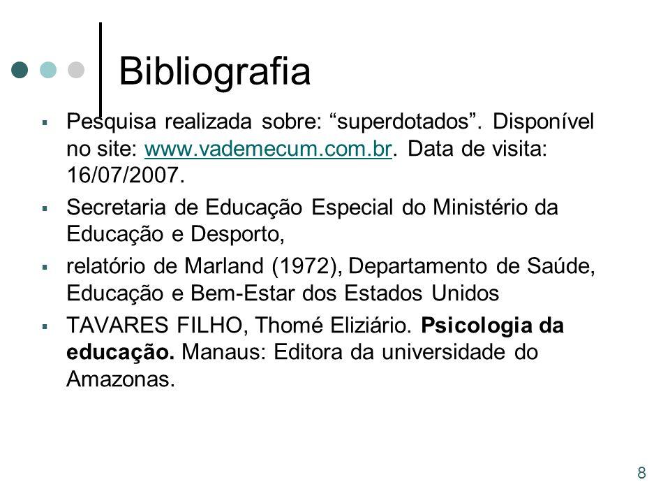 Bibliografia Pesquisa realizada sobre: superdotados . Disponível no site: www.vademecum.com.br. Data de visita: 16/07/2007.