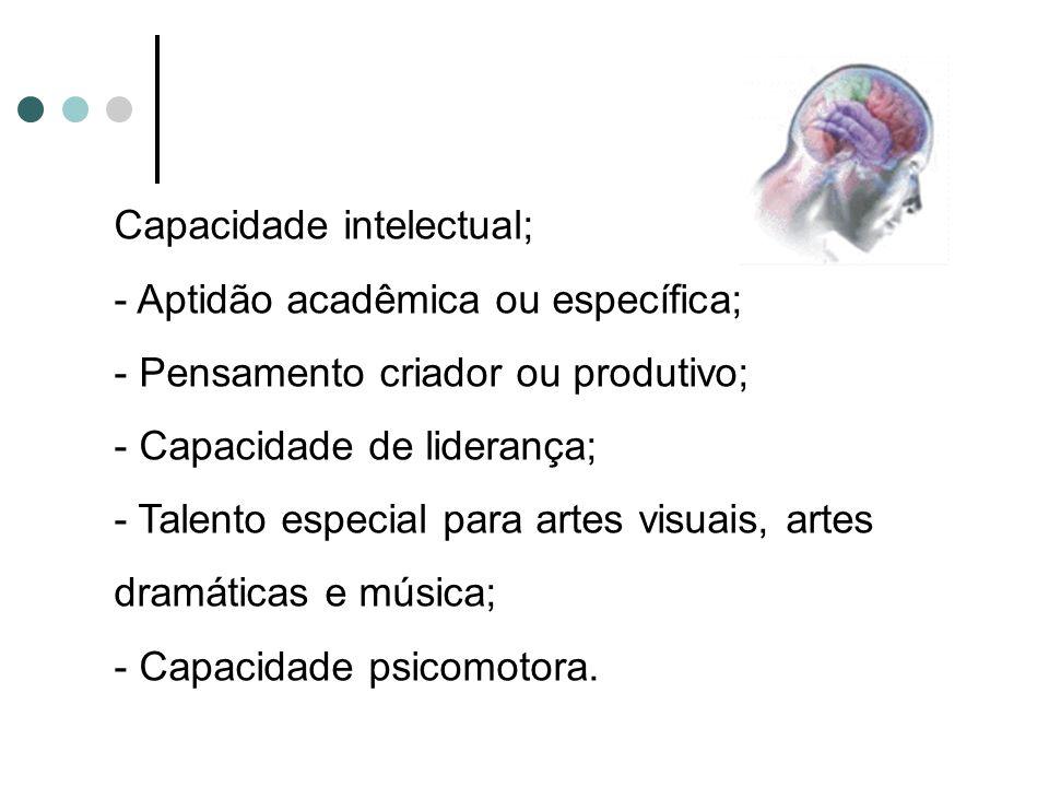 Capacidade intelectual; - Aptidão acadêmica ou específica; - Pensamento criador ou produtivo; - Capacidade de liderança; - Talento especial para artes visuais, artes dramáticas e música; - Capacidade psicomotora.