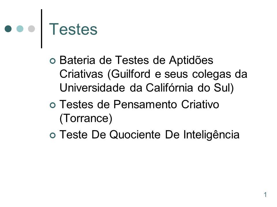 Testes Bateria de Testes de Aptidões Criativas (Guilford e seus colegas da Universidade da Califórnia do Sul)