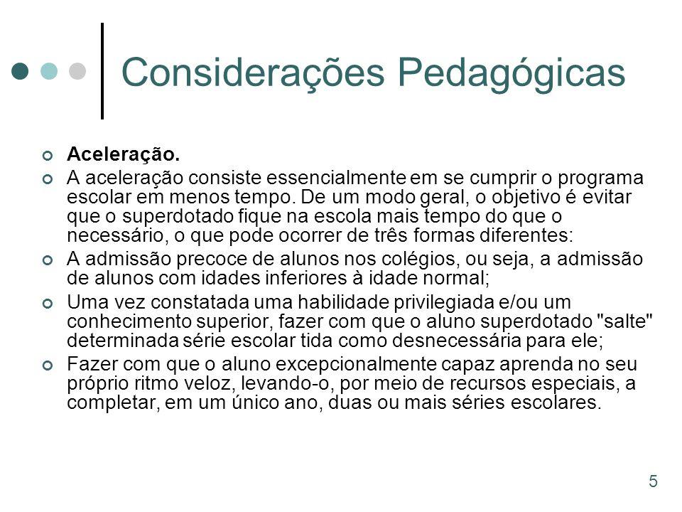 Considerações Pedagógicas