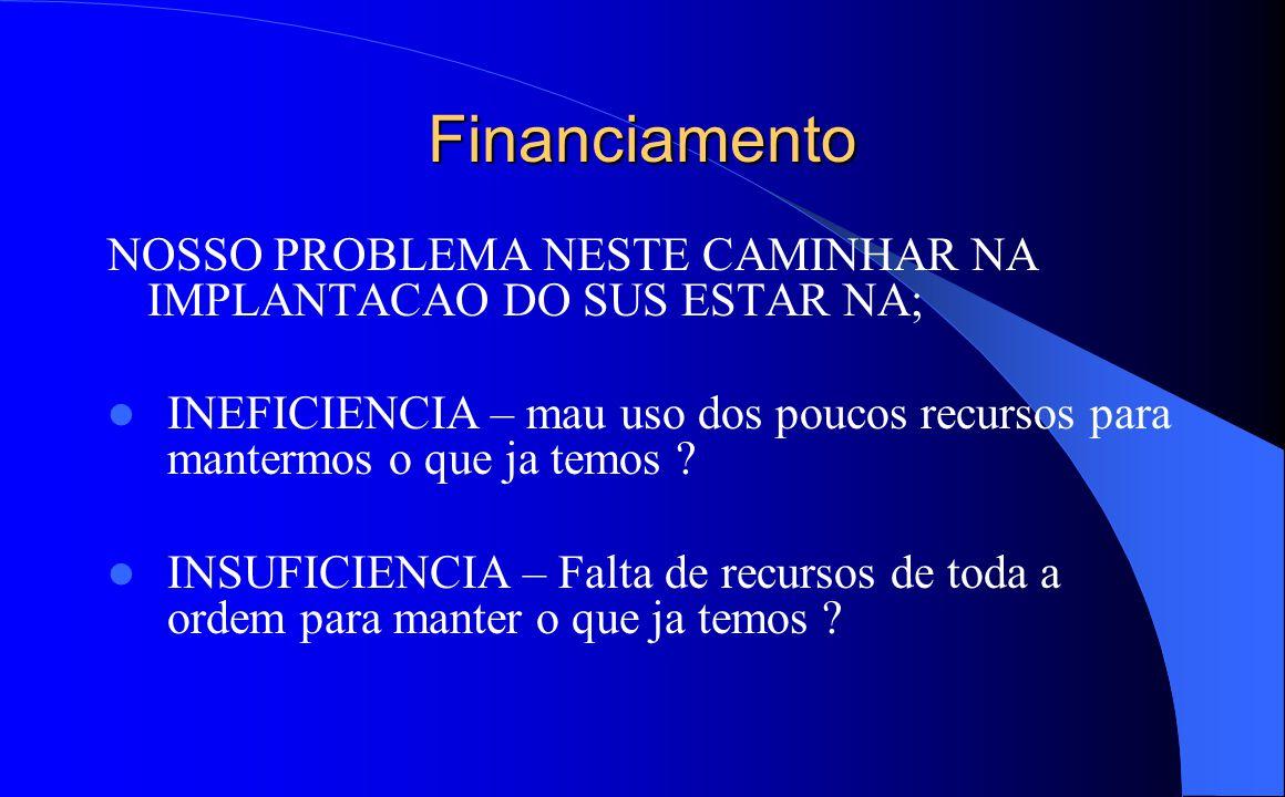Financiamento NOSSO PROBLEMA NESTE CAMINHAR NA IMPLANTACAO DO SUS ESTAR NA;