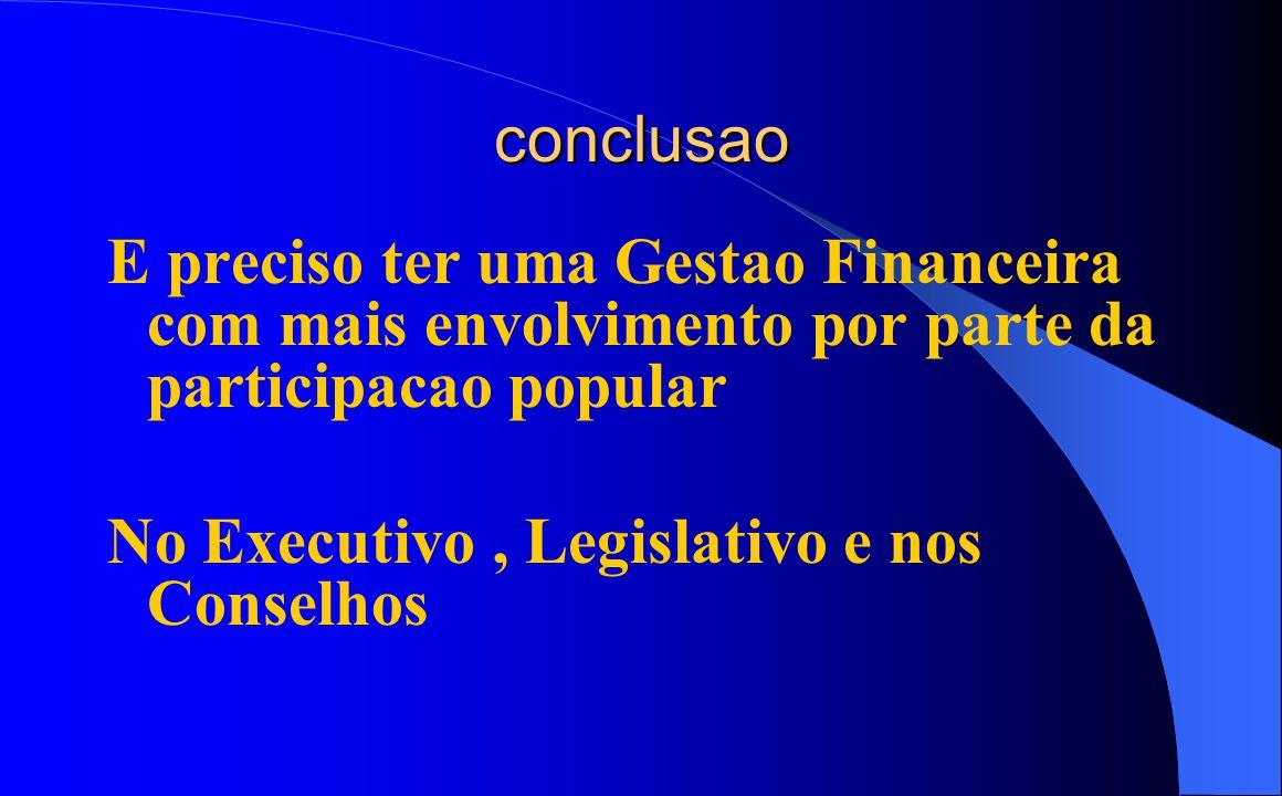 conclusao E preciso ter uma Gestao Financeira com mais envolvimento por parte da participacao popular No Executivo , Legislativo e nos Conselhos