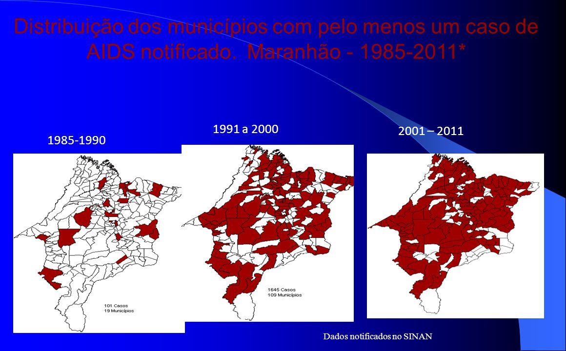 Distribuição dos municípios com pelo menos um caso de AIDS notificado