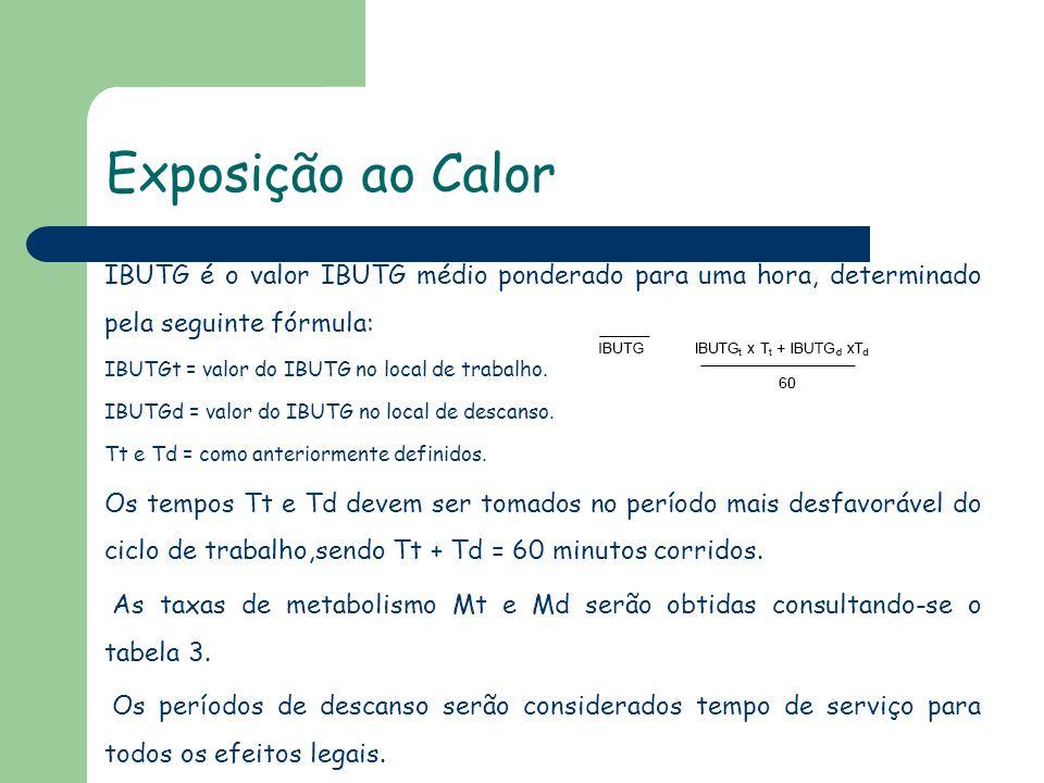 Exposição ao Calor IBUTG é o valor IBUTG médio ponderado para uma hora, determinado pela seguinte fórmula: