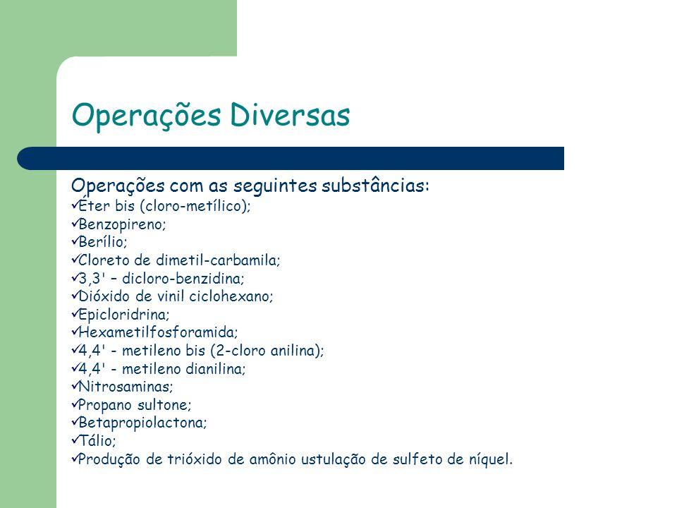 Operações Diversas Operações com as seguintes substâncias: