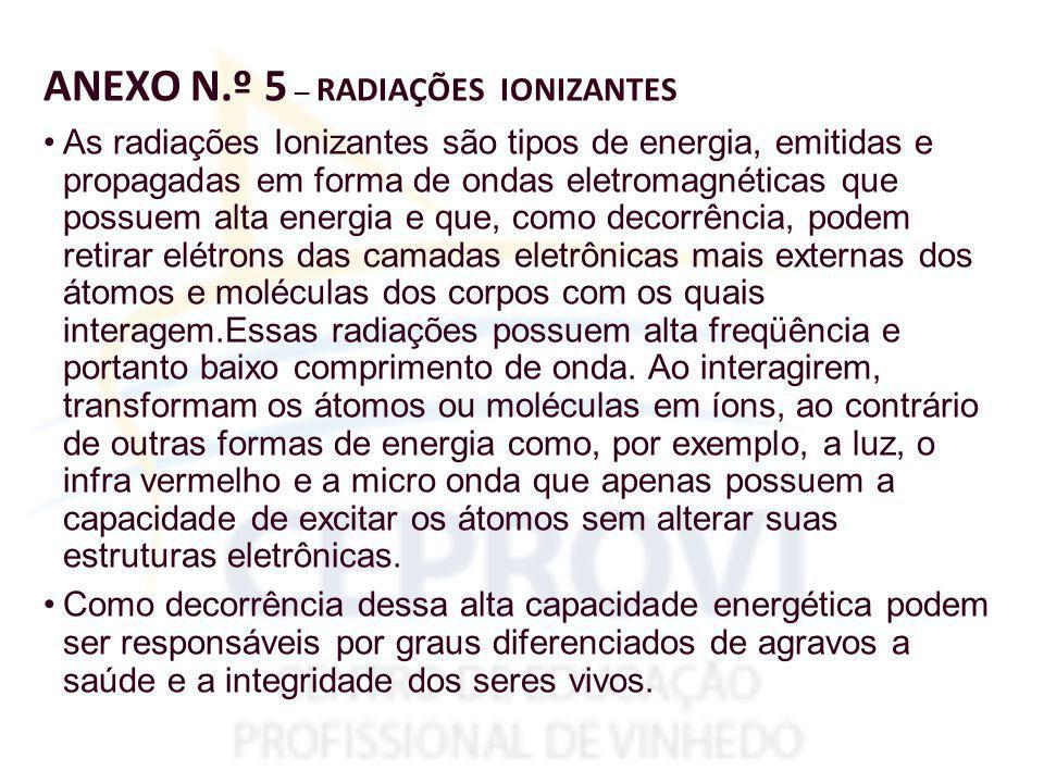 ANEXO N.º 5 – RADIAÇÕES IONIZANTES