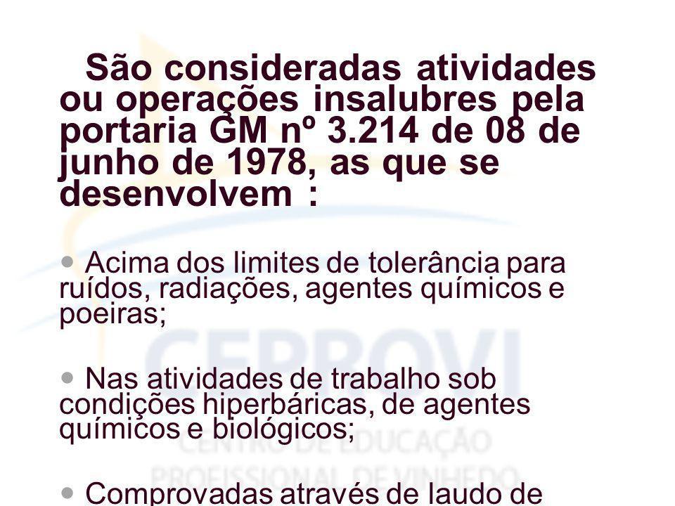 São consideradas atividades ou operações insalubres pela portaria GM nº 3.214 de 08 de junho de 1978, as que se desenvolvem :