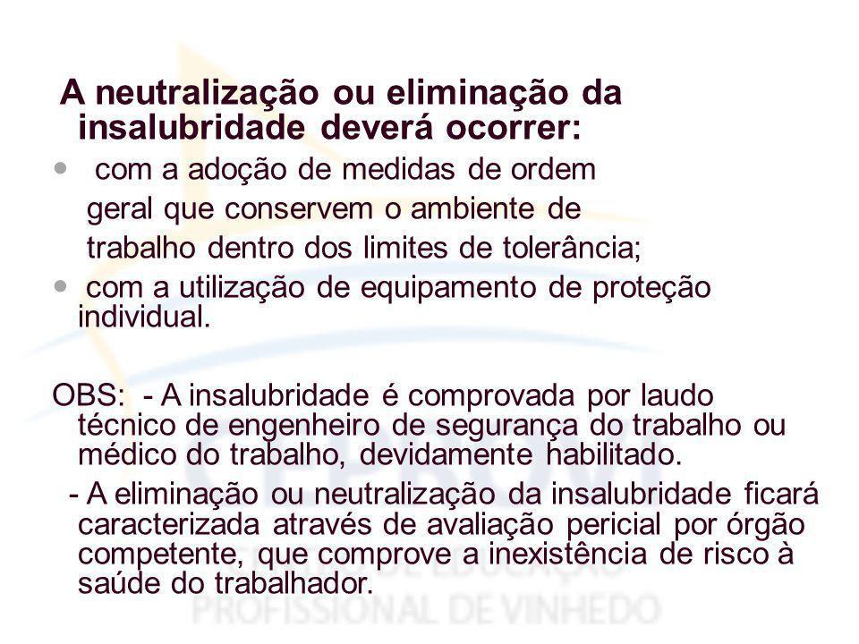 A neutralização ou eliminação da insalubridade deverá ocorrer: