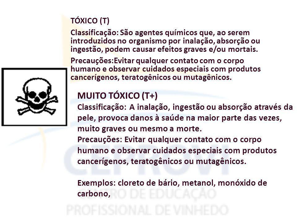 TÓXICO (T) Classificação: São agentes químicos que, ao serem introduzidos no organismo por inalação, absorção ou ingestão, podem causar efeitos graves e/ou mortais. Precauções:Evitar qualquer contato com o corpo humano e observar cuidados especiais com produtos cancerígenos, teratogênicos ou mutagênicos.