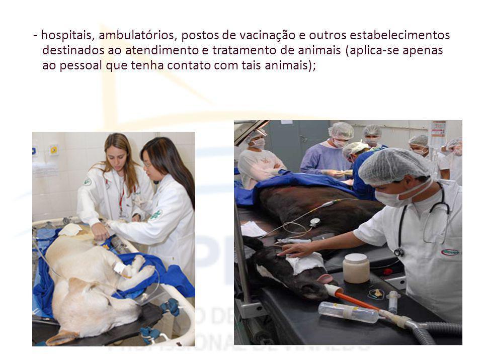 - hospitais, ambulatórios, postos de vacinação e outros estabelecimentos destinados ao atendimento e tratamento de animais (aplica-se apenas ao pessoal que tenha contato com tais animais);