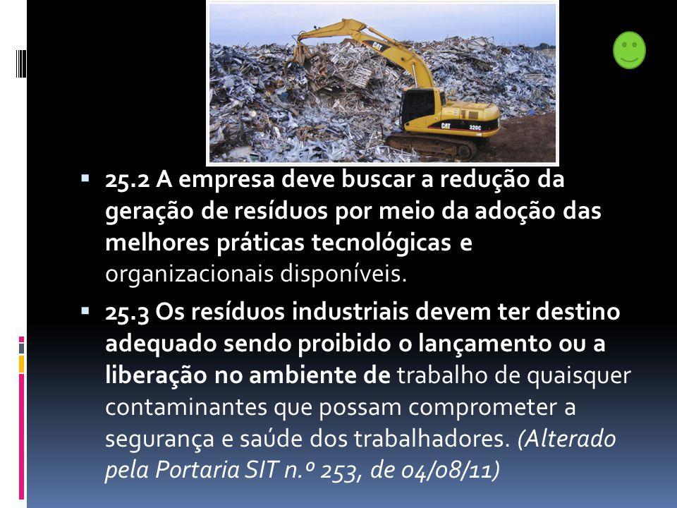 25.2 A empresa deve buscar a redução da geração de resíduos por meio da adoção das melhores práticas tecnológicas e organizacionais disponíveis.