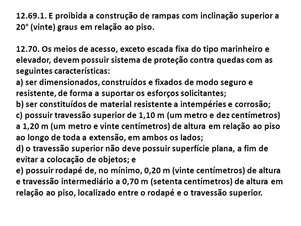 12.69.1. E proibida a construção de rampas com inclinação superior a 20° (vinte) graus em relação ao piso.