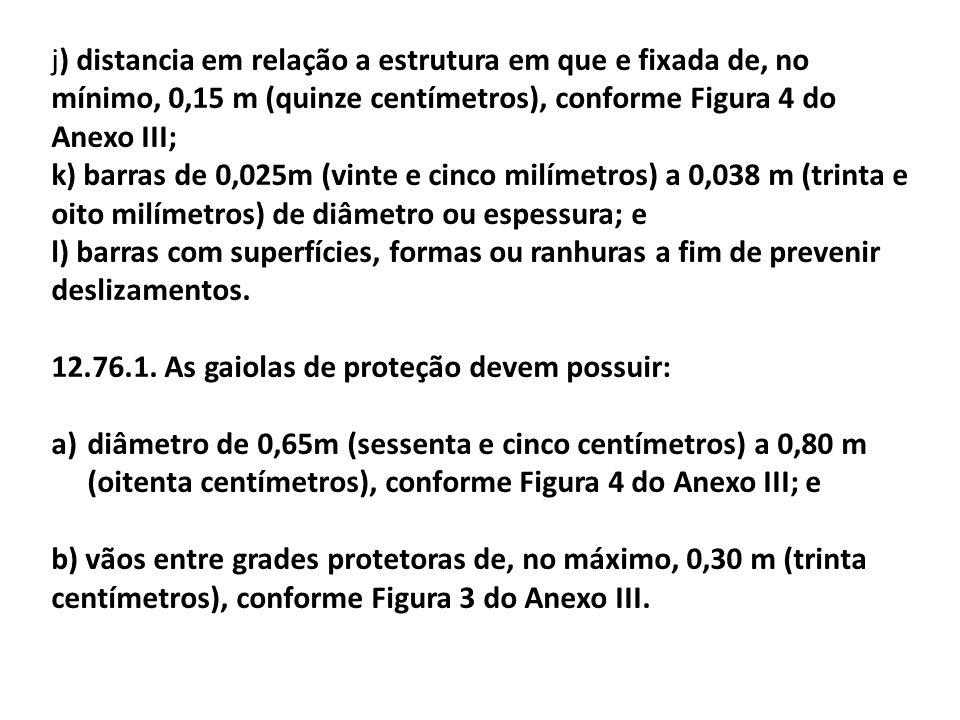 j) distancia em relação a estrutura em que e fixada de, no mínimo, 0,15 m (quinze centímetros), conforme Figura 4 do Anexo III;