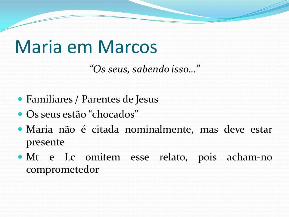Maria em Marcos Os seus, sabendo isso...
