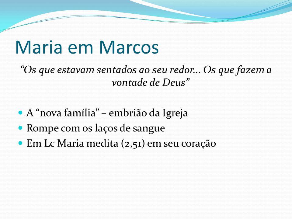 Maria em Marcos Os que estavam sentados ao seu redor... Os que fazem a vontade de Deus A nova família – embrião da Igreja.