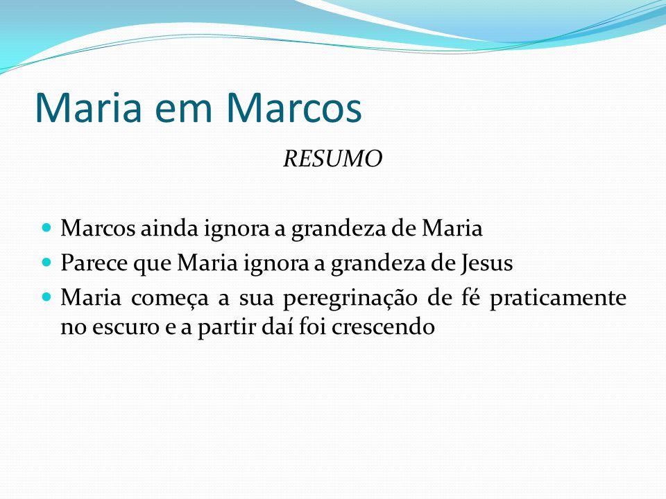 Maria em Marcos RESUMO Marcos ainda ignora a grandeza de Maria
