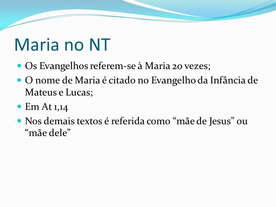 Maria no NT Os Evangelhos referem-se à Maria 20 vezes;