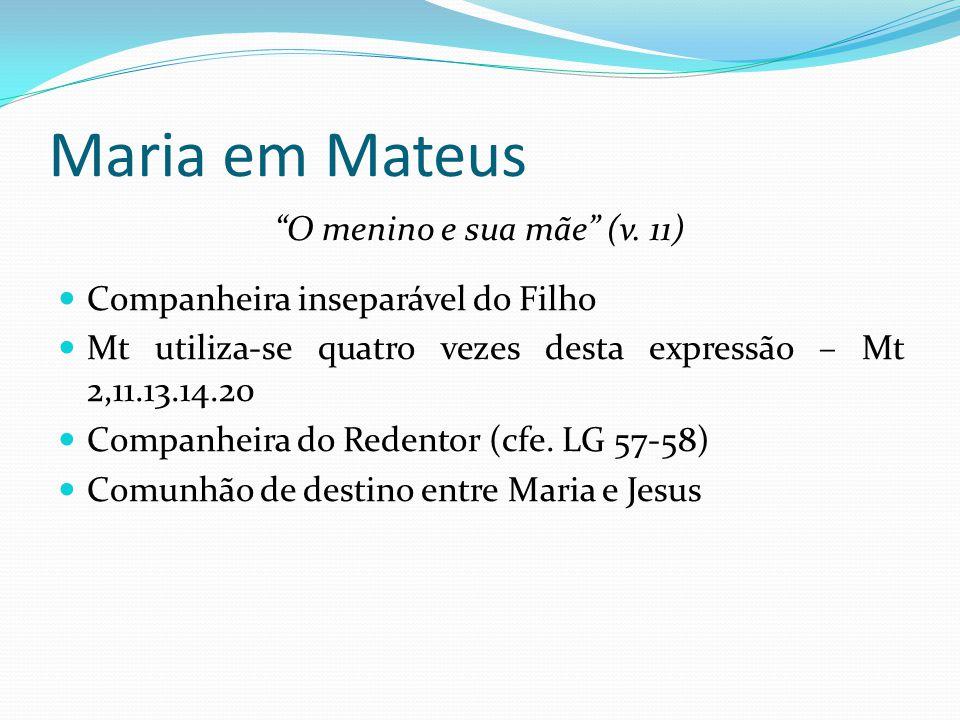 Maria em Mateus O menino e sua mãe (v. 11)