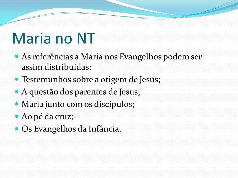 Maria no NT As referências a Maria nos Evangelhos podem ser assim distribuídas: Testemunhos sobre a origem de Jesus;
