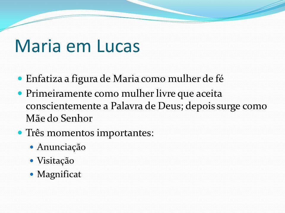 Maria em Lucas Enfatiza a figura de Maria como mulher de fé