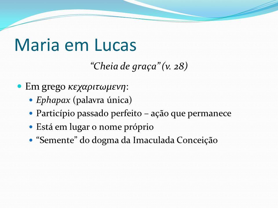 Maria em Lucas Cheia de graça (v. 28) Em grego κεχαριτωμενη: