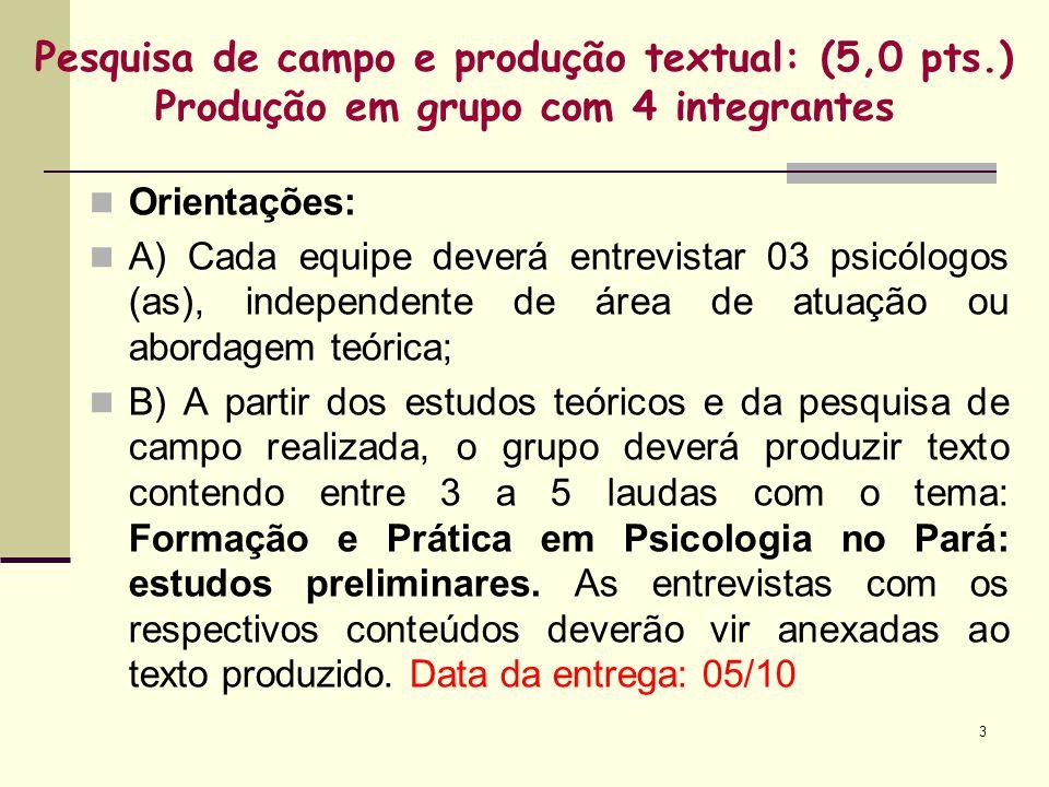 Pesquisa de campo e produção textual: (5,0 pts