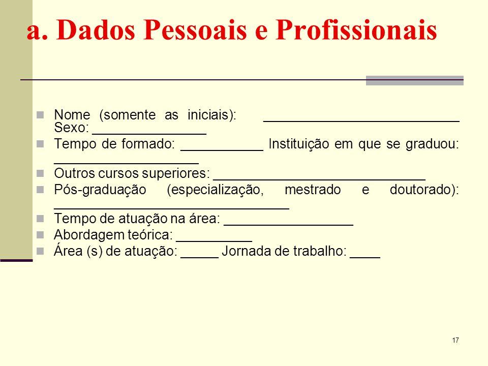 a. Dados Pessoais e Profissionais