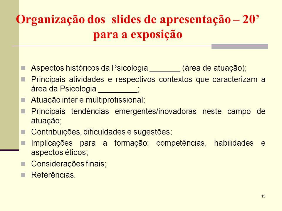 Organização dos slides de apresentação – 20' para a exposição