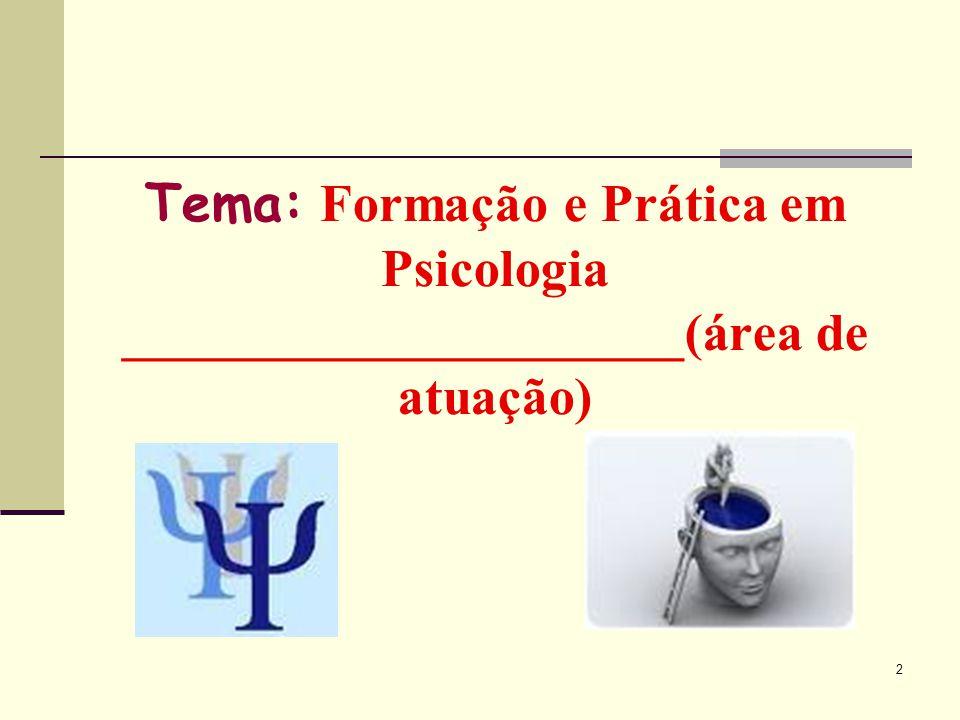 Tema: Formação e Prática em Psicologia _____________________(área de atuação)