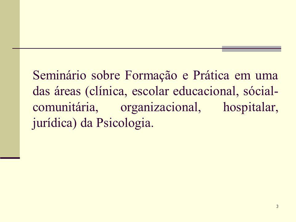 Seminário sobre Formação e Prática em uma das áreas (clínica, escolar educacional, sócial-comunitária, organizacional, hospitalar, jurídica) da Psicologia.