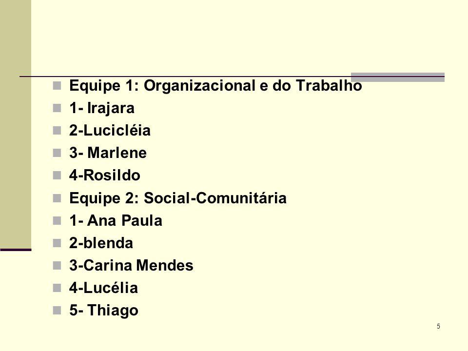 Equipe 1: Organizacional e do Trabalho