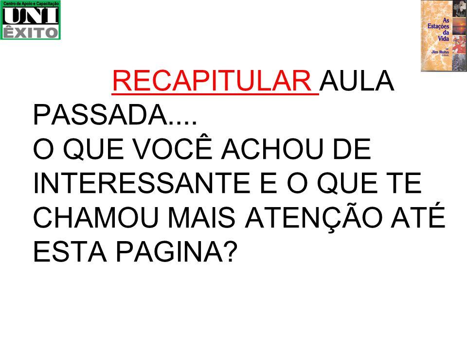 RECAPITULAR AULA PASSADA