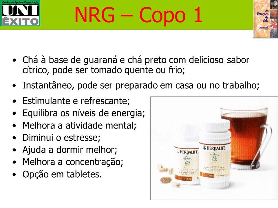 NRG – Copo 1 Chá à base de guaraná e chá preto com delicioso sabor cítrico, pode ser tomado quente ou frio;