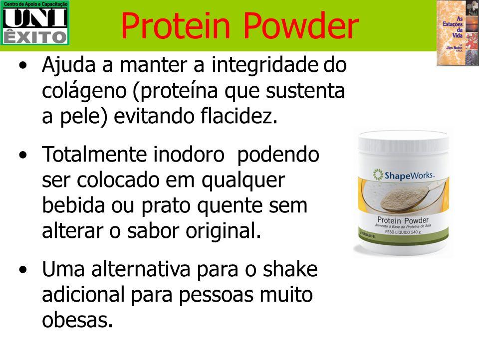 Protein Powder Ajuda a manter a integridade do colágeno (proteína que sustenta a pele) evitando flacidez.