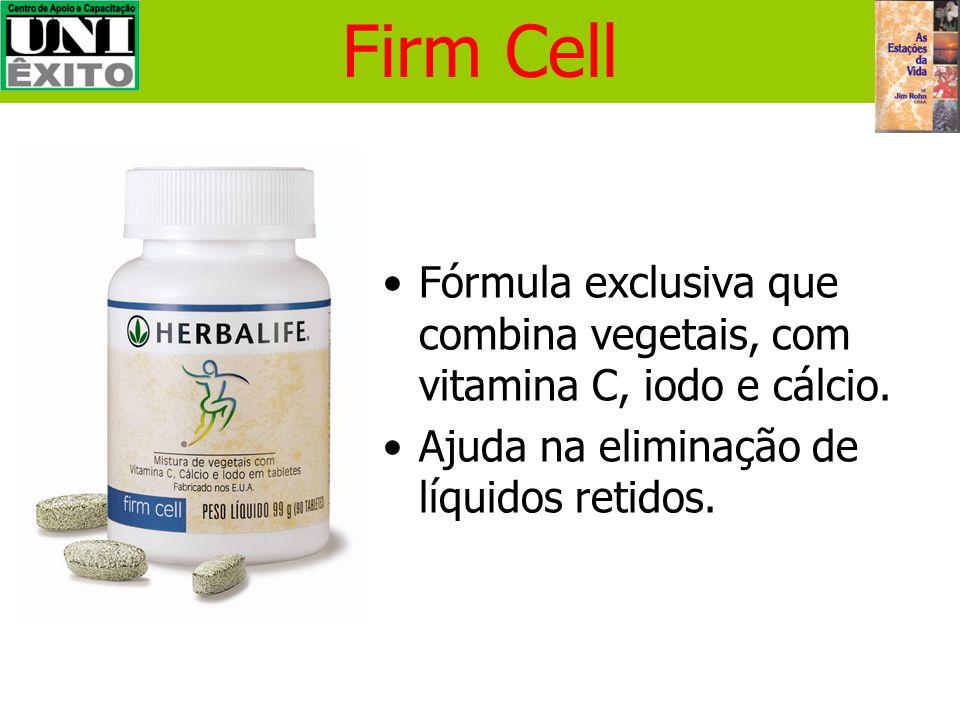 Firm Cell Fórmula exclusiva que combina vegetais, com vitamina C, iodo e cálcio.