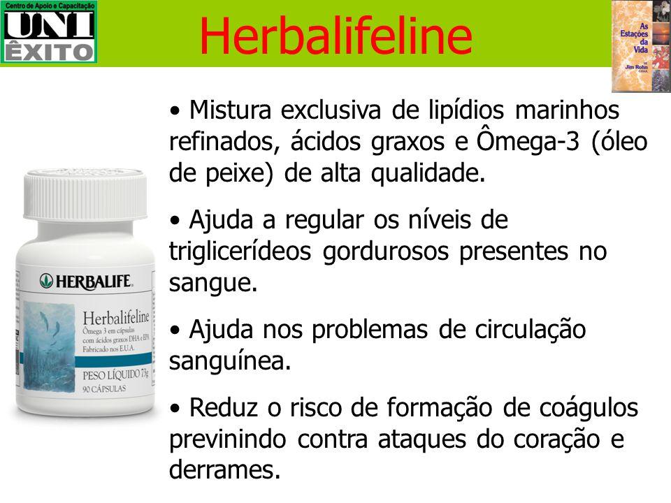 Herbalifeline Mistura exclusiva de lipídios marinhos refinados, ácidos graxos e Ômega-3 (óleo de peixe) de alta qualidade.