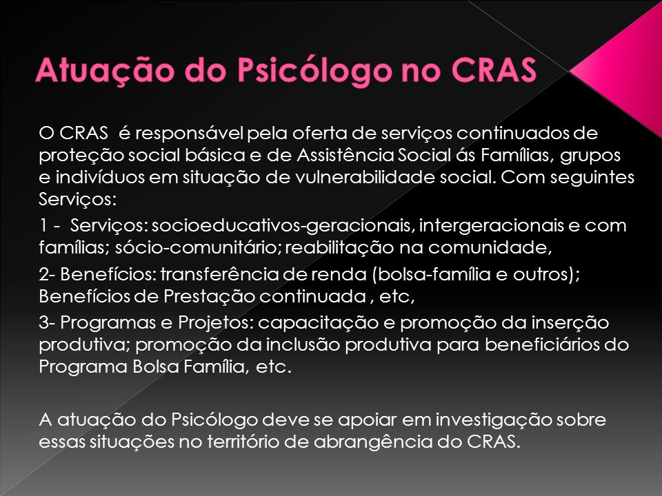 Atuação do Psicólogo no CRAS