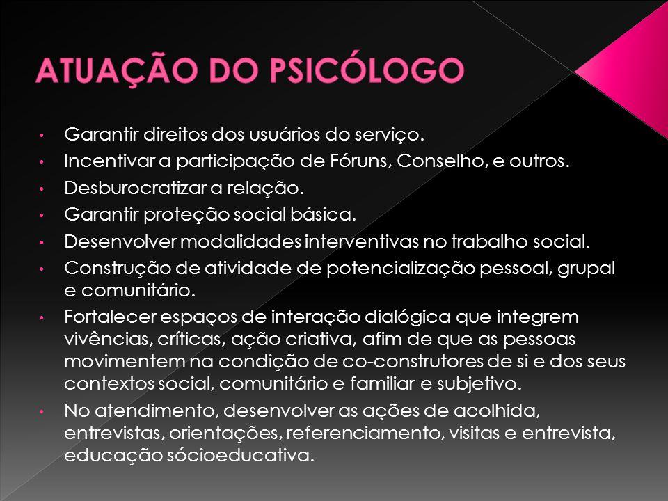 ATUAÇÃO DO PSICÓLOGO Garantir direitos dos usuários do serviço.