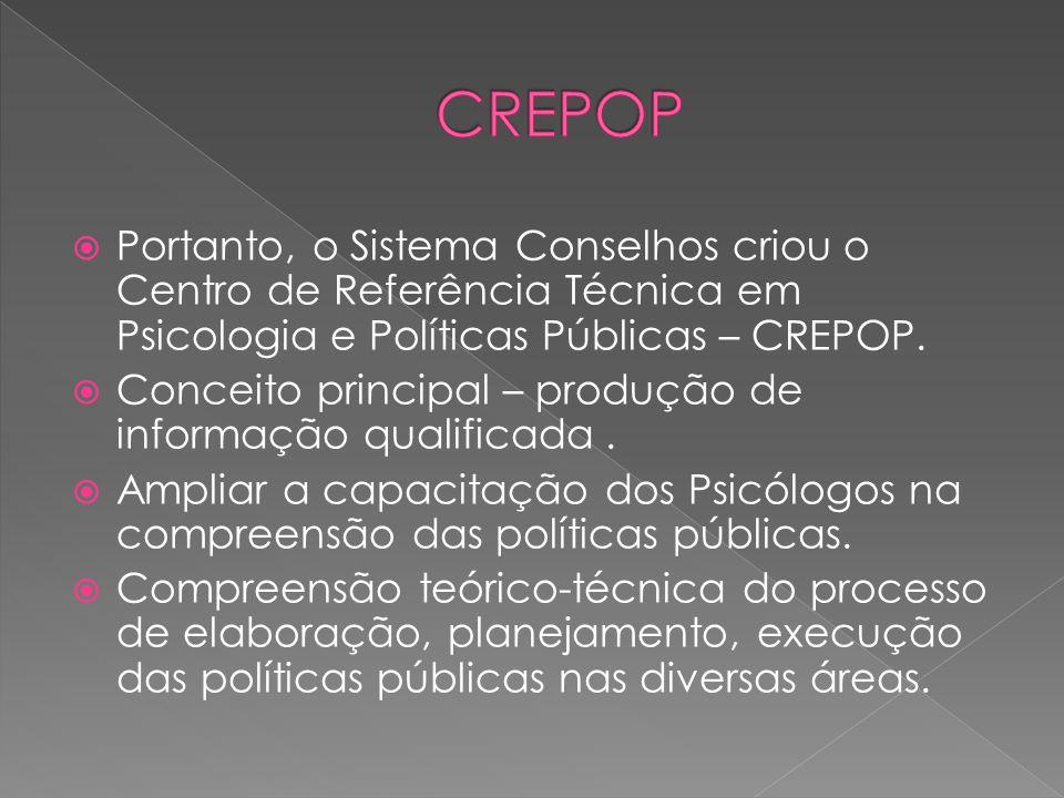 CREPOP Portanto, o Sistema Conselhos criou o Centro de Referência Técnica em Psicologia e Políticas Públicas – CREPOP.