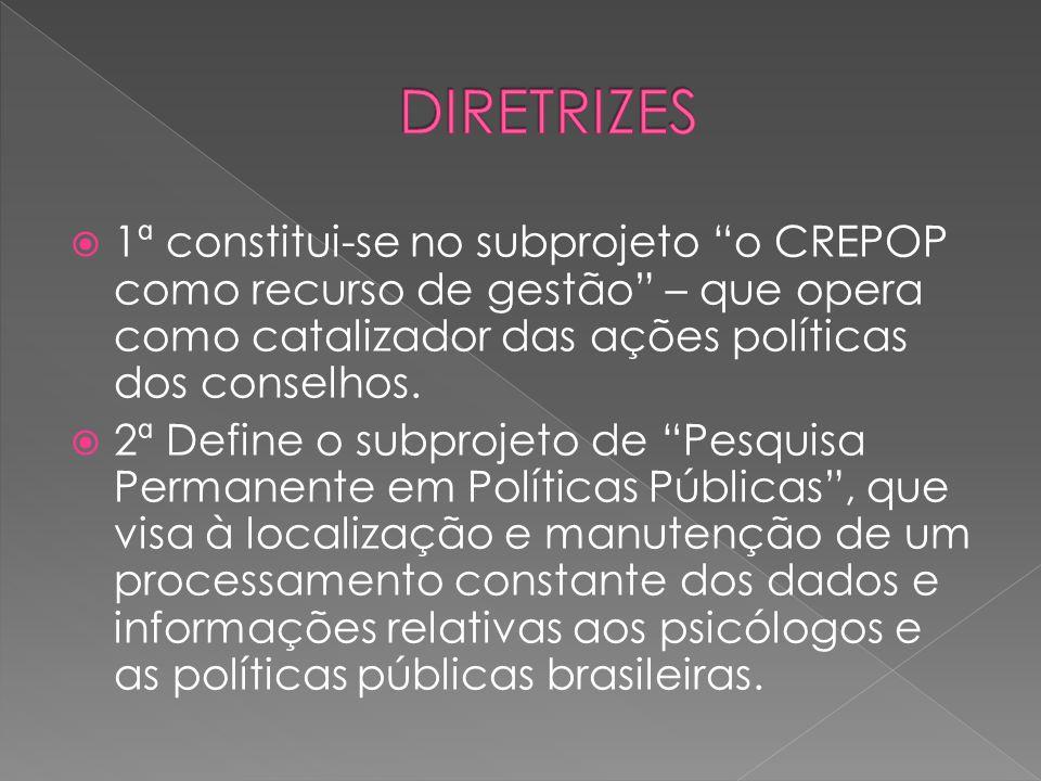 DIRETRIZES 1ª constitui-se no subprojeto o CREPOP como recurso de gestão – que opera como catalizador das ações políticas dos conselhos.