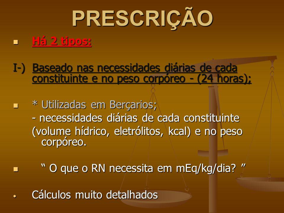 PRESCRIÇÃO Há 2 tipos: I-) Baseado nas necessidades diárias de cada constituinte e no peso corpóreo - (24 horas);