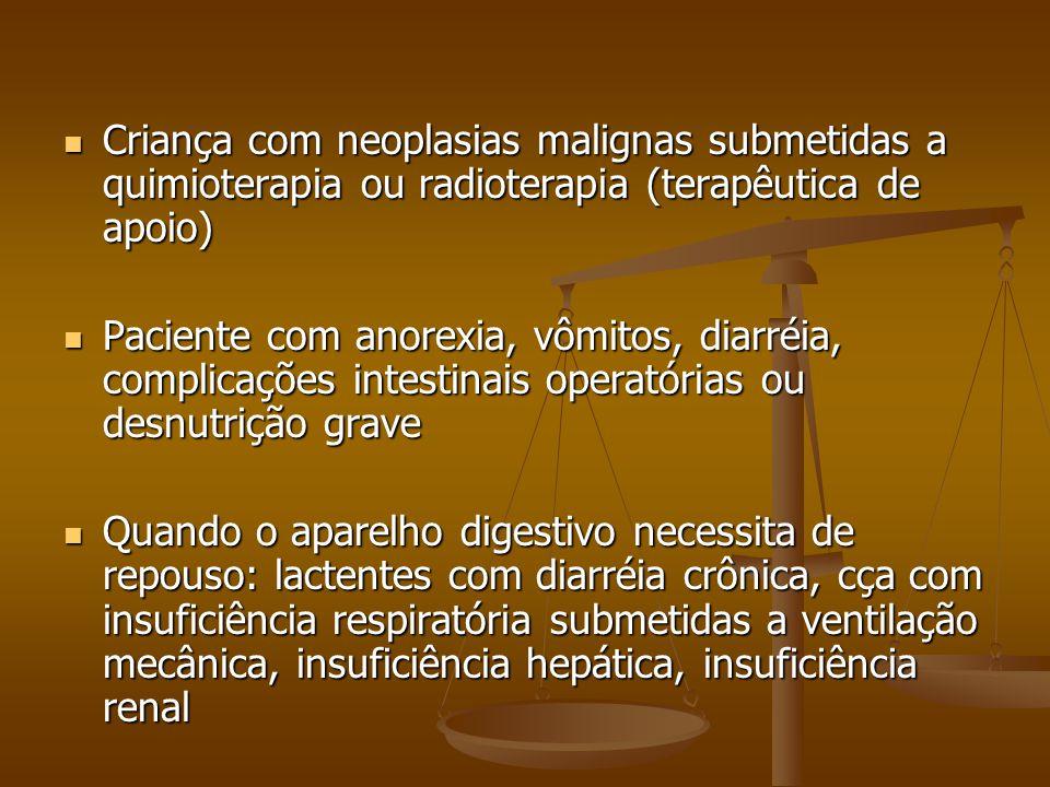 Criança com neoplasias malignas submetidas a quimioterapia ou radioterapia (terapêutica de apoio)