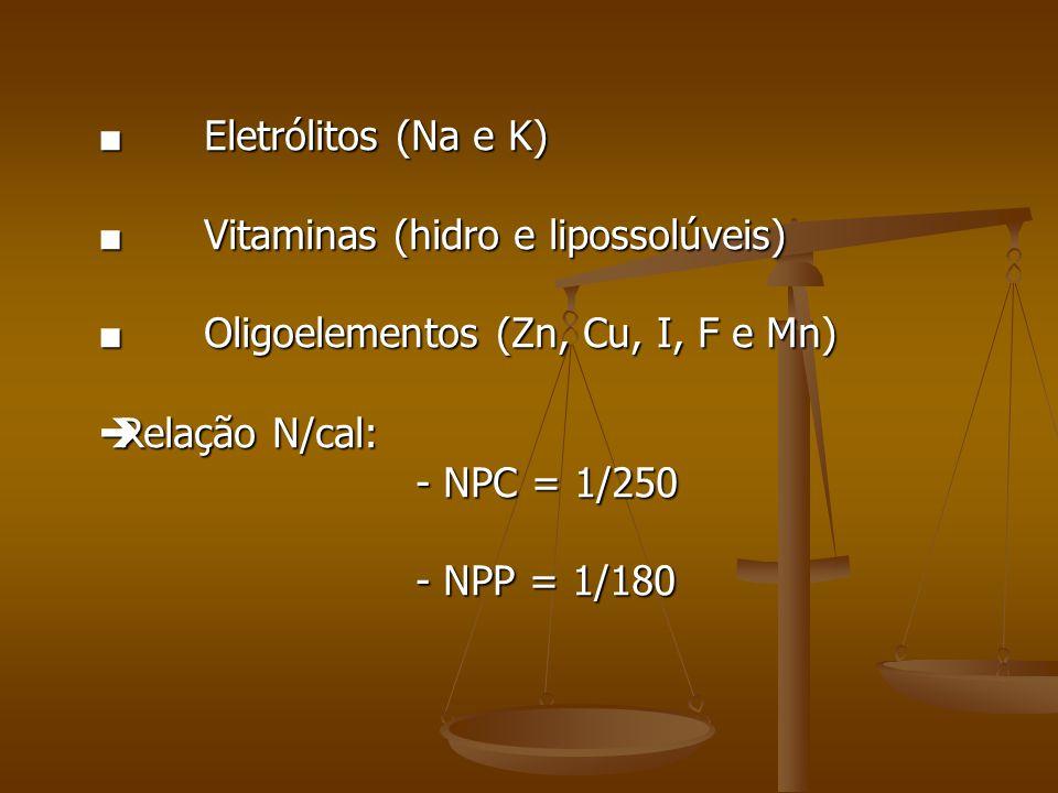 ■ Eletrólitos (Na e K) ■ Vitaminas (hidro e lipossolúveis) ■ Oligoelementos (Zn, Cu, I, F e Mn) Relação N/cal:
