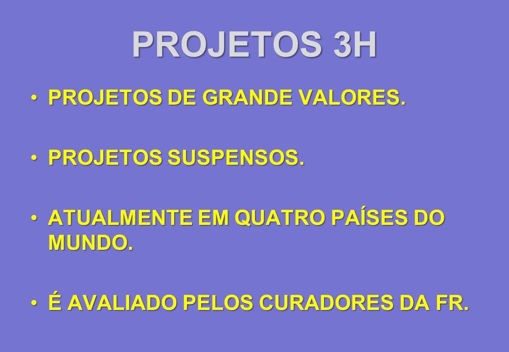 PROJETOS 3H PROJETOS DE GRANDE VALORES. PROJETOS SUSPENSOS.