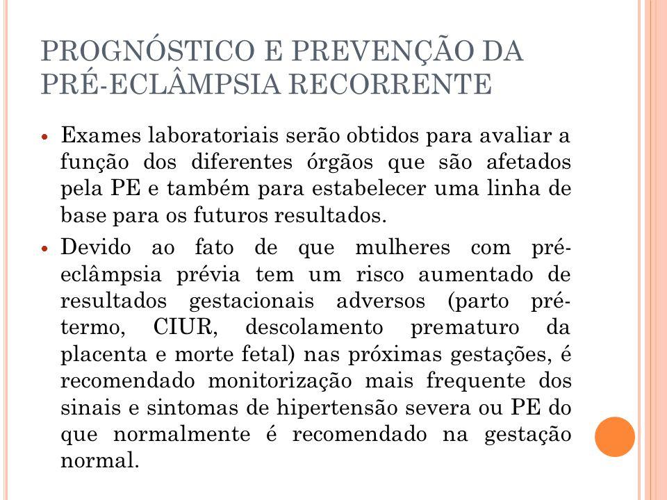 PROGNÓSTICO E PREVENÇÃO DA PRÉ-ECLÂMPSIA RECORRENTE